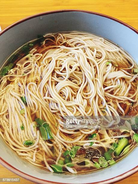 High Angle View Of Noodle Soup In Bowl On Table