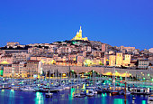 High angle view of Notre Dame de la Garde, Marseille, France