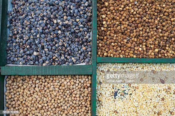 High Angle View Of Nuts And Seeds For Sale