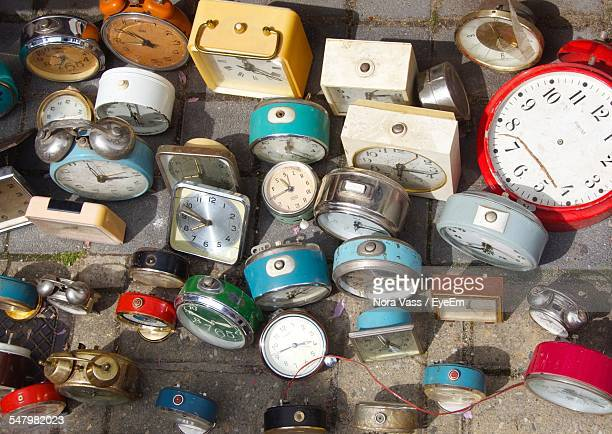 High Angle View Of Obsolete Old-Fashioned Clocks