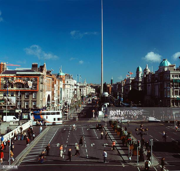 High angle view of O'Connell street with the Dublin spire in the background