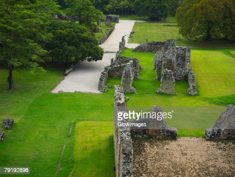 High angle view of old ruins of buildings, Old Panama, Panama City, Panama : Stock Photo