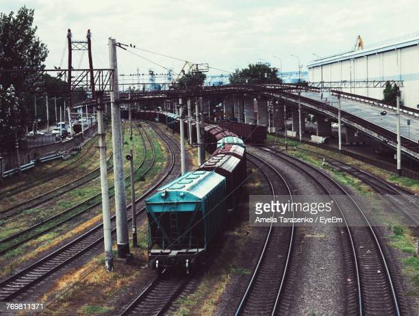 High Angle View Of Old Train On Railroad Tracks Against Sky