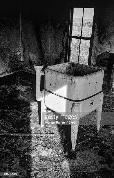 High Angle View Of Old Washing Machine In Abandoned Farmhouse
