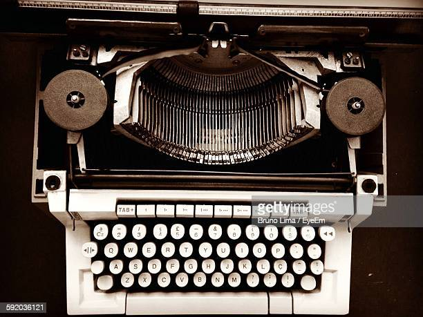 High Angle View Of Old-Fashioned Typewriter On Table