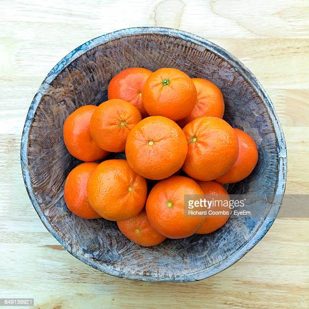 High Angle View Of Oranges In Bowl On Table