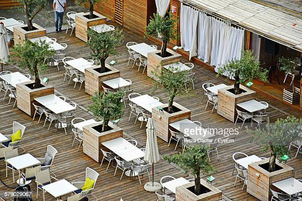 High Angle View Of Outdoor Restaurant