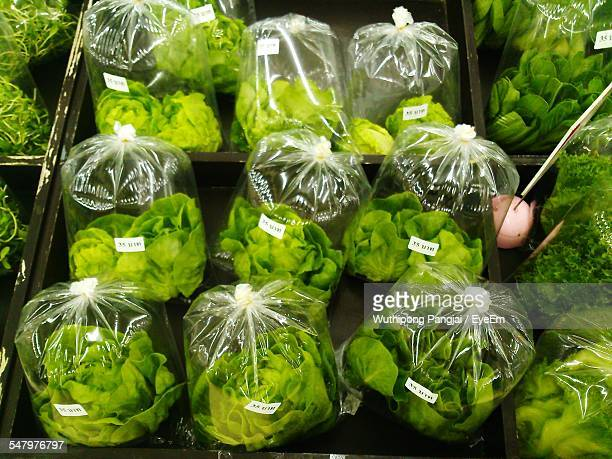 High Angle View Of Packed Butterhead Lettuce For Sale