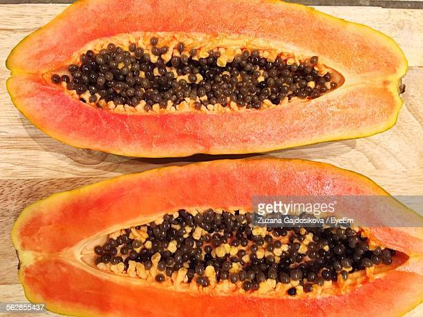 High Angle View Of Papaya On Wooden Table