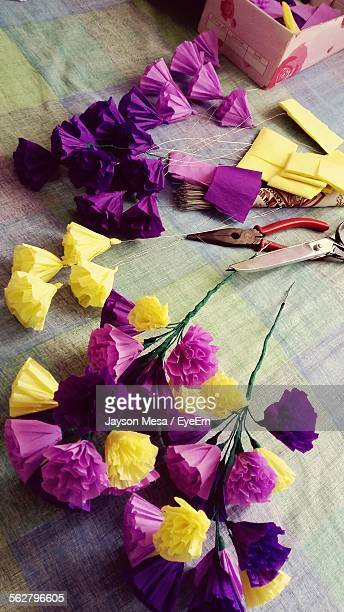 High Angle View Of Paper Flowers