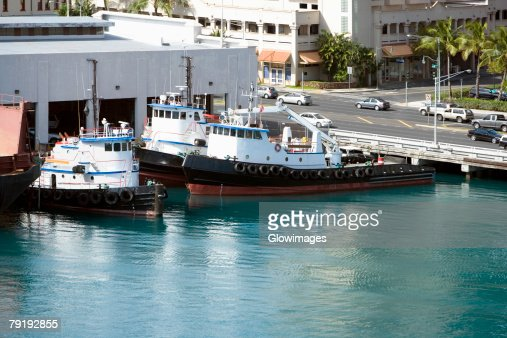 High angle view of passenger ships at a harbor : Foto de stock