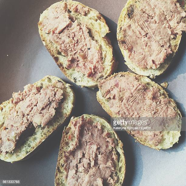 High Angle View Of Pate On Plate