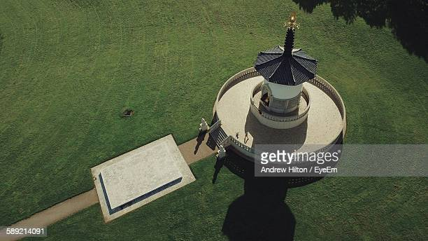 High Angle View Of Peace Pagoda At Milton Keynes