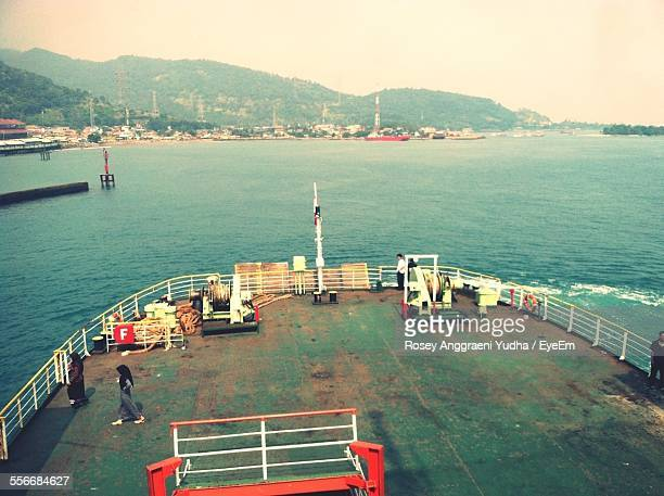 High Angle View Of People At Boat Deck