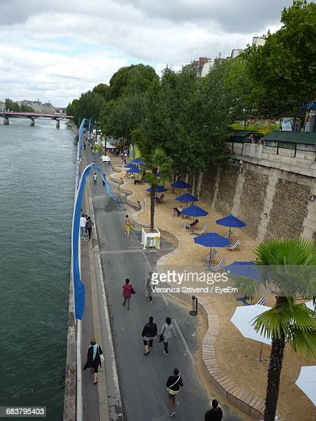 High Angle View Of People At Paris Beach