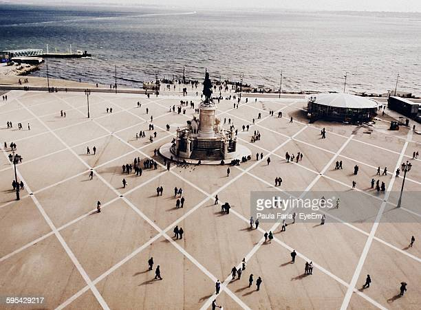 High Angle View Of People At Praca Do Comercio