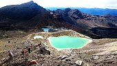 High Angle View Of People By Emerald Lakes At Mount Tongariro