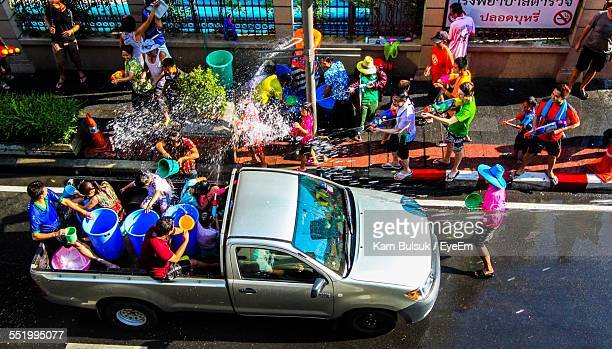 High Angle View Of People Celebrating Water Festival
