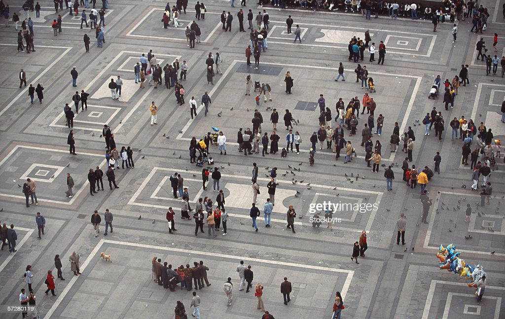 High angle view of people in piazza del duomo in Milan : Stock Photo