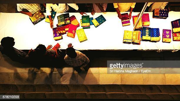 High Angle View Of People In Sari Shop