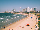 High Angle View Of People On Beach In Tel Aviv
