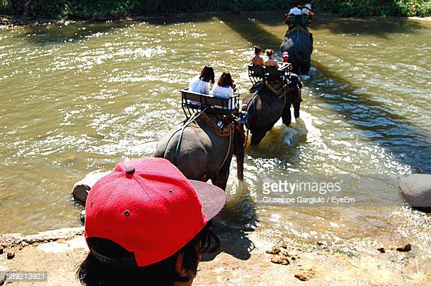 High Angle View Of People On Elephants Crossing River