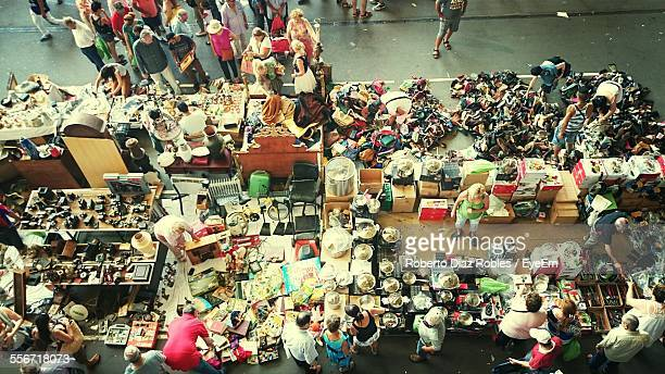 High Angle View Of People Shopping On Street Market In City