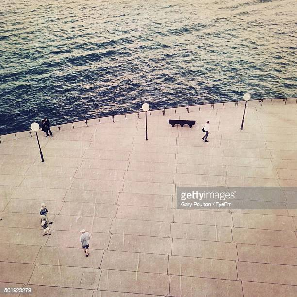 High angle view of people walking at Sydney Opera House