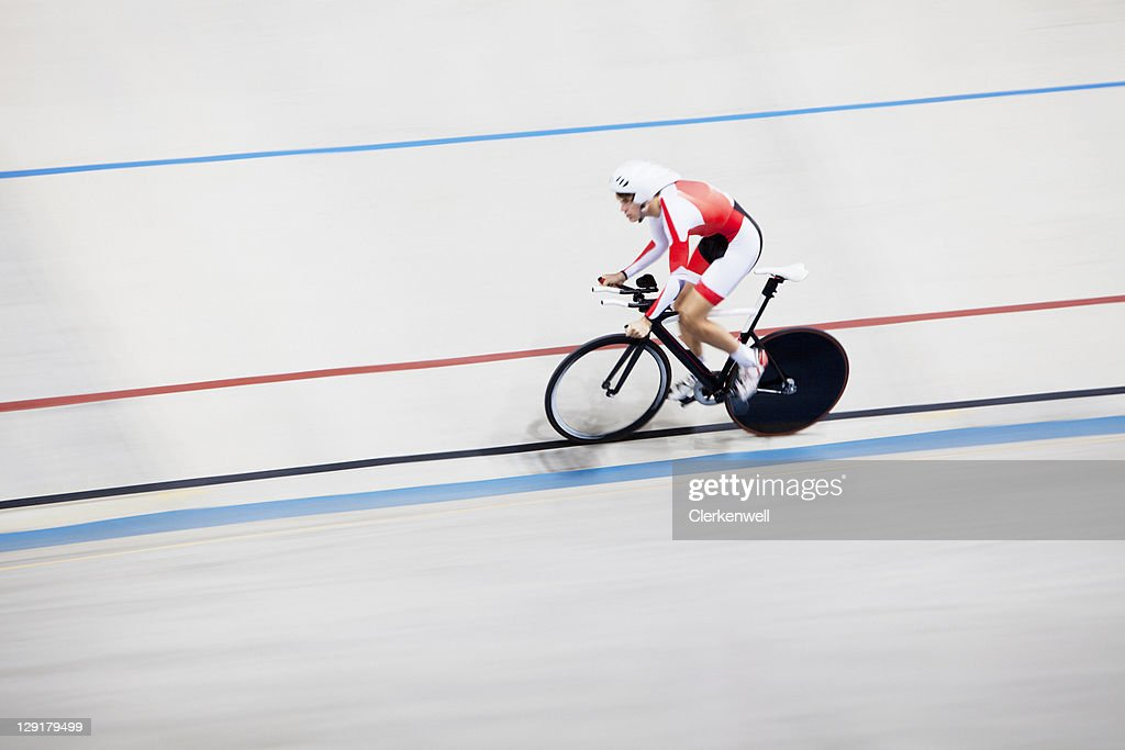 High angle view of person riding bicycle in race : Stock Photo
