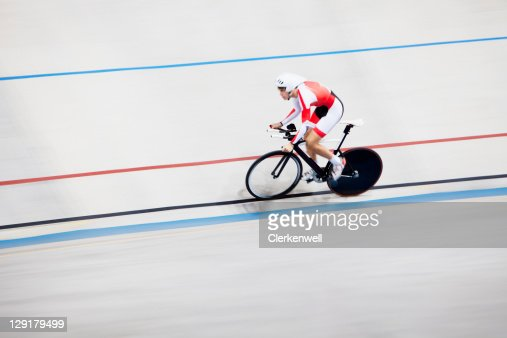 High angle view of person riding bicycle in race