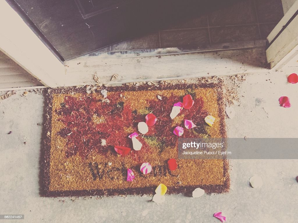 High Angle View Of Petals On Doormat