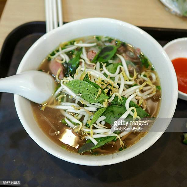 High Angle View Of Pho In Bowl