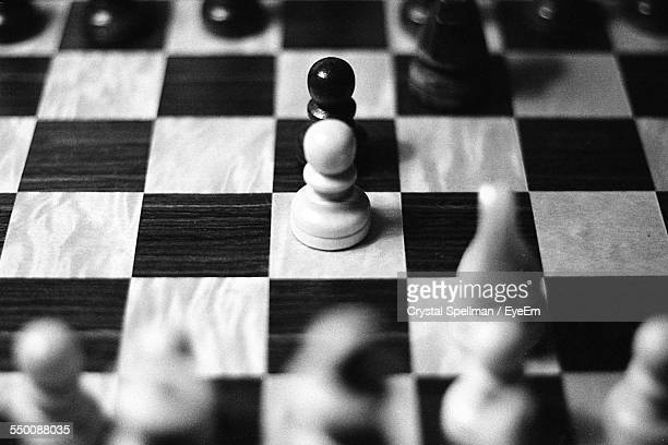 High Angle View Of Pieces Arranged On Chess Board