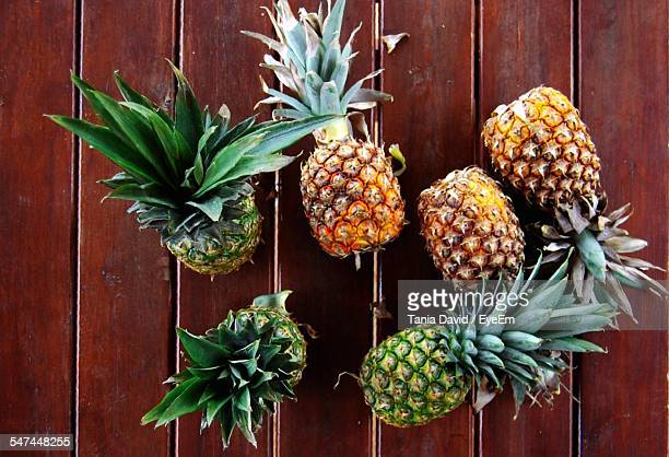 High Angle View Of Pineapples On Table