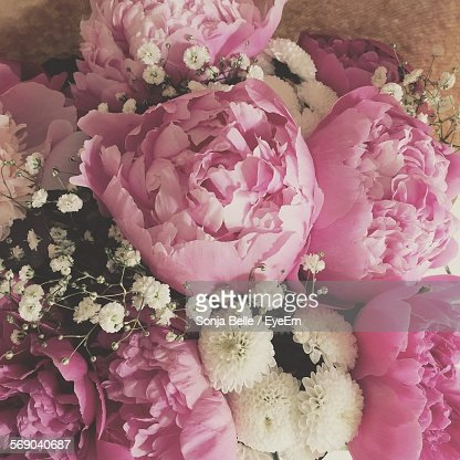 High Angle View Of Pink Peonies And White Flowers In Bouquet