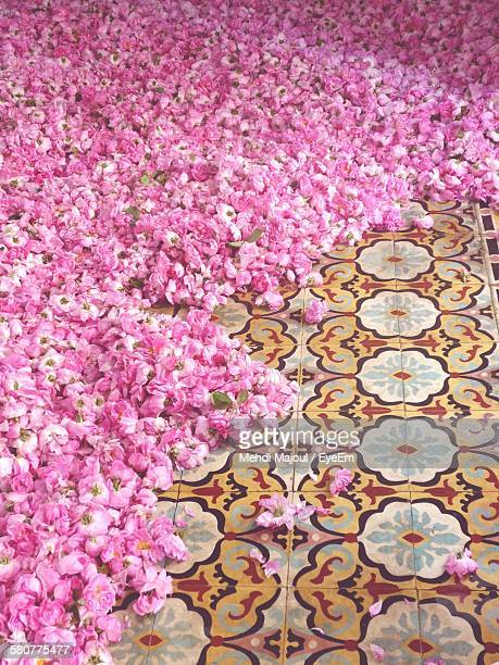 High Angle View Of Pink Roses On Floor