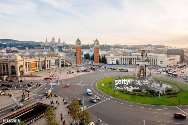 High angle view of Placa D'Espanya in Barcelona, Spain