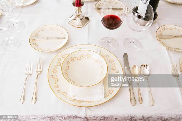 High angle view of place setting for a dinner party