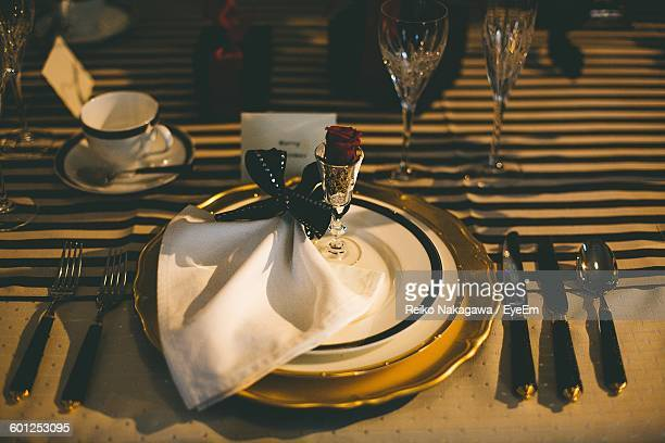 High Angle View Of Place Setting In Restaurant