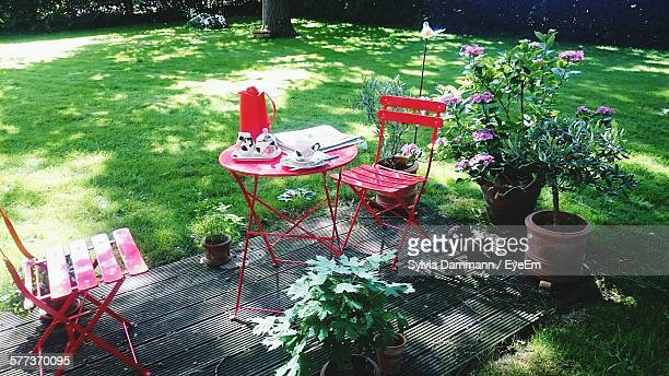 High Angle View Of Place Setting In Yard