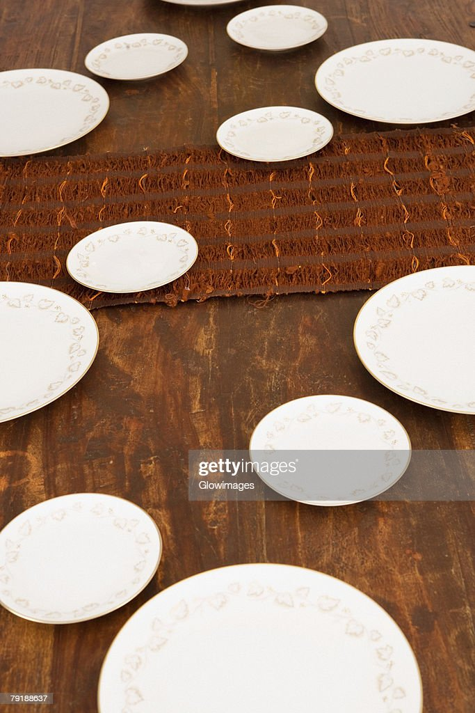 High angle view of place setting on a dining table : Foto de stock