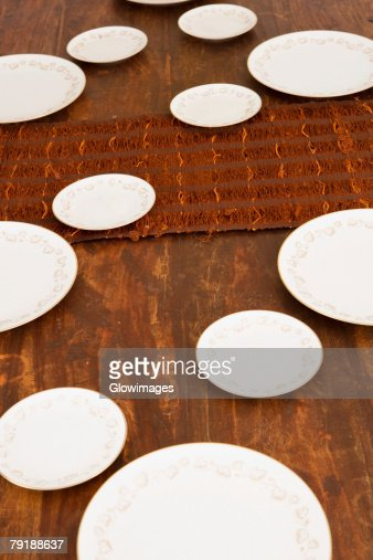 High angle view of place setting on a dining table : Stock Photo
