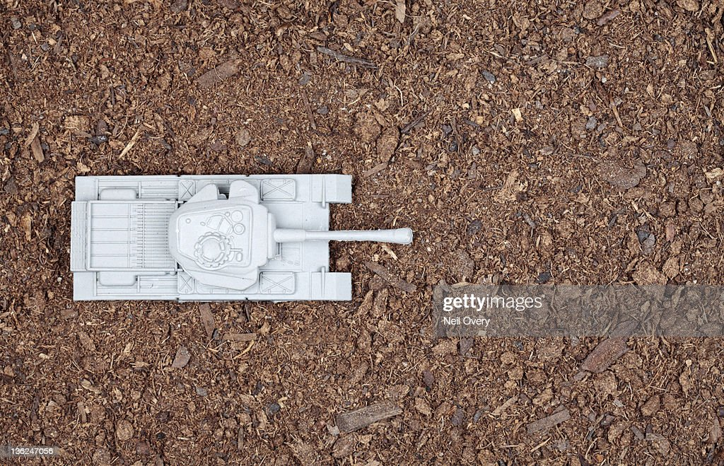 High Angle View of Plastic Tank in Soil