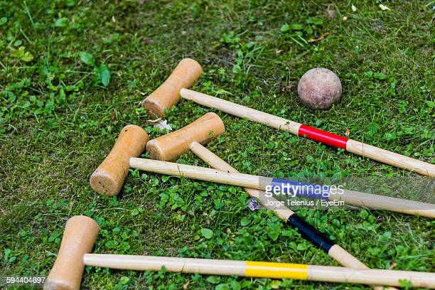 High Angle View Of Polo Mallet On Field