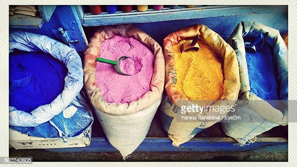 High Angle View Of Powder Paint In Sack For Sale