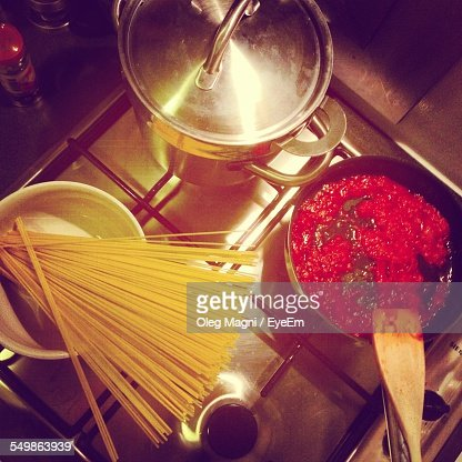 High Angle View Of Preparing Noodles