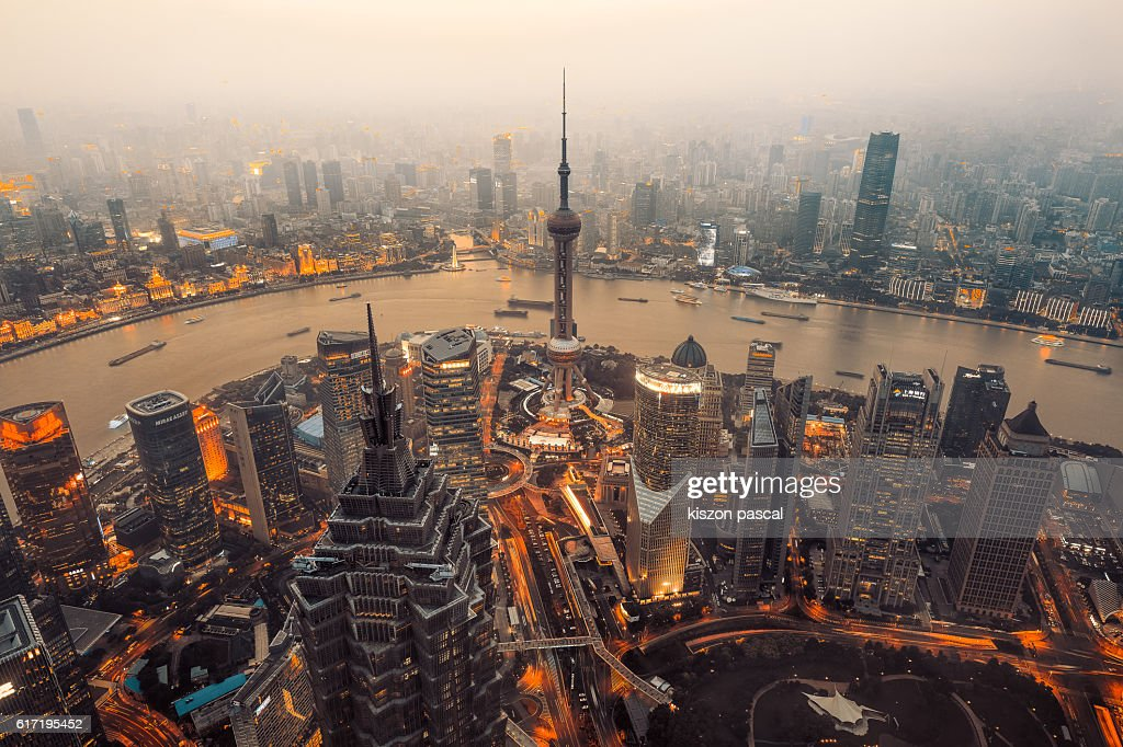 High angle view of Pudong Lujiazui in sunset : Stock Photo