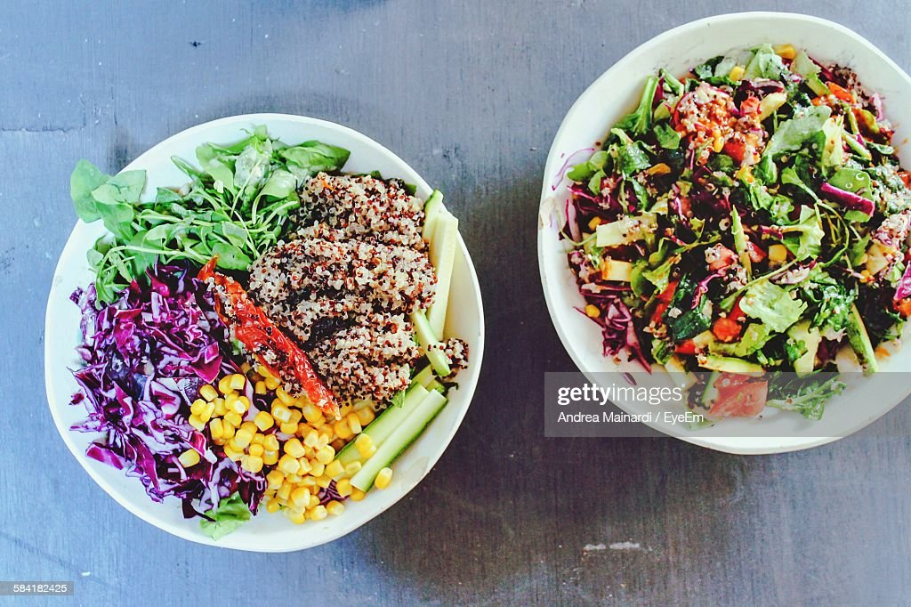 high angle view of quinoa salad bowls on table - Salad Bowls