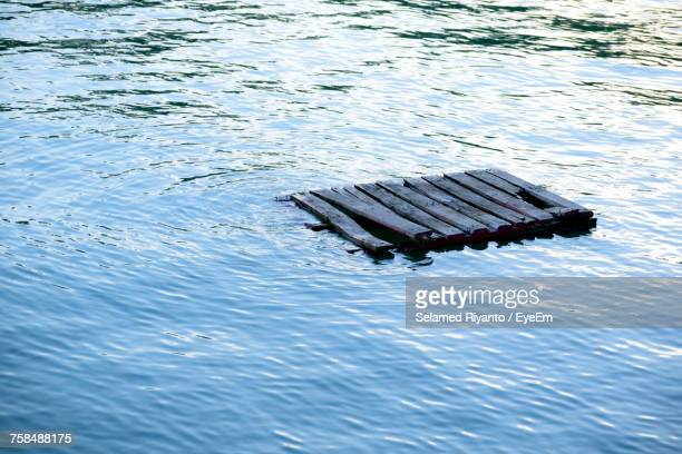 High Angle View Of Raft On Rippled Water