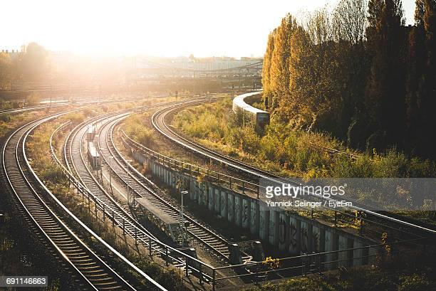 High Angle View Of Railroad Tracks By Trees On Sunny Day